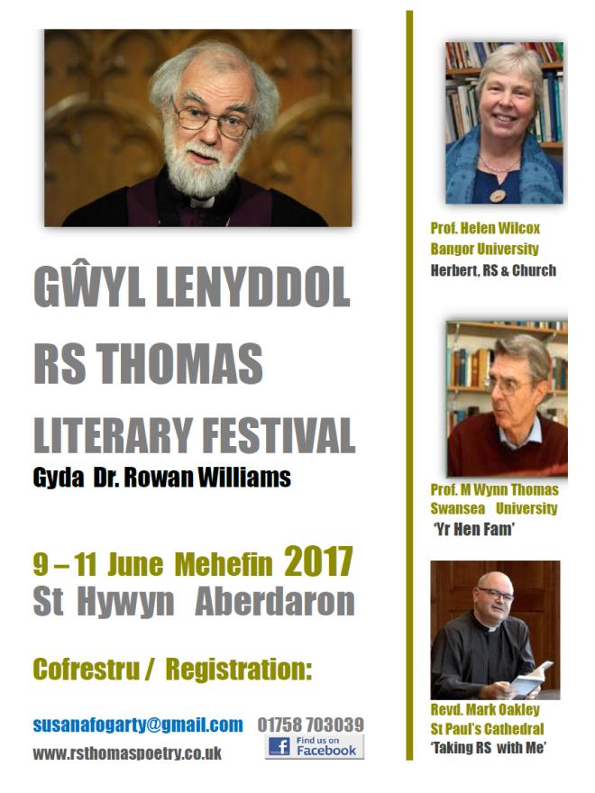 RS Thomas Literary Festival Gwyl Lenyddol 9 - 11 June Mehefin 2017 in Aberdaron Wales Cymru featuring Dr. Rowan Williams